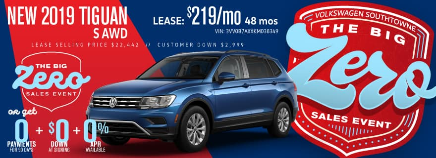 Get a new 2019 Tiguan for ZERO down and ZERO Payments for 90 days.