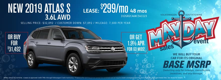 Volkswagen Atlas MAYDAY pricing! Don't miss this 555 sale!