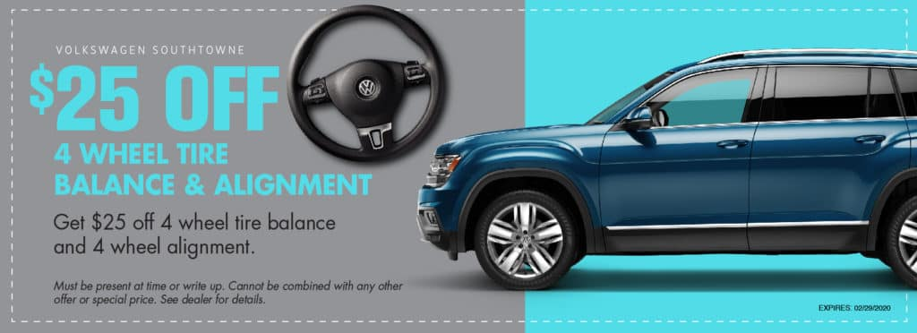 Tire Mount and Balance coupon at Volkswagen SouthTowne