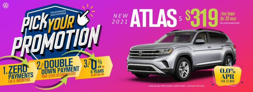 Pick your promotion at Volkswagen SouthTowne on this Atlas SUV.