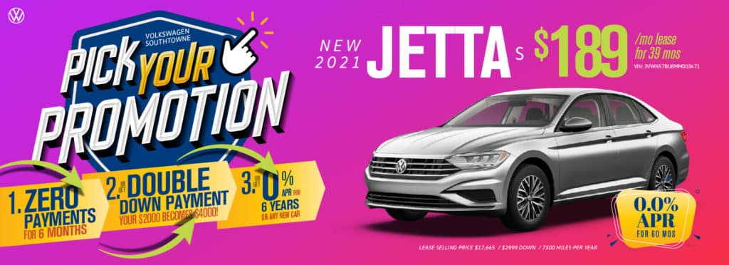 Pick your promotion at Volkswagen SouthTowne on this Jetta.