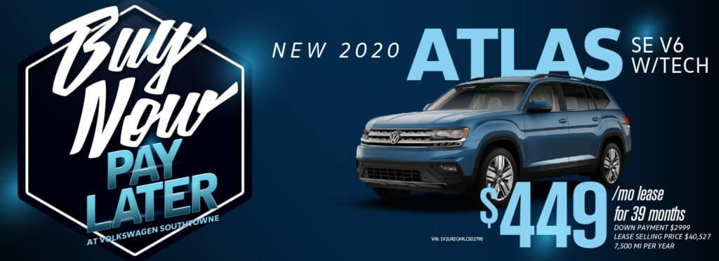 Zero payments until 2021, Zero driving expenses and ZERO % APR! Buy Now, Pay Later at Volkswagen SouthTowne!