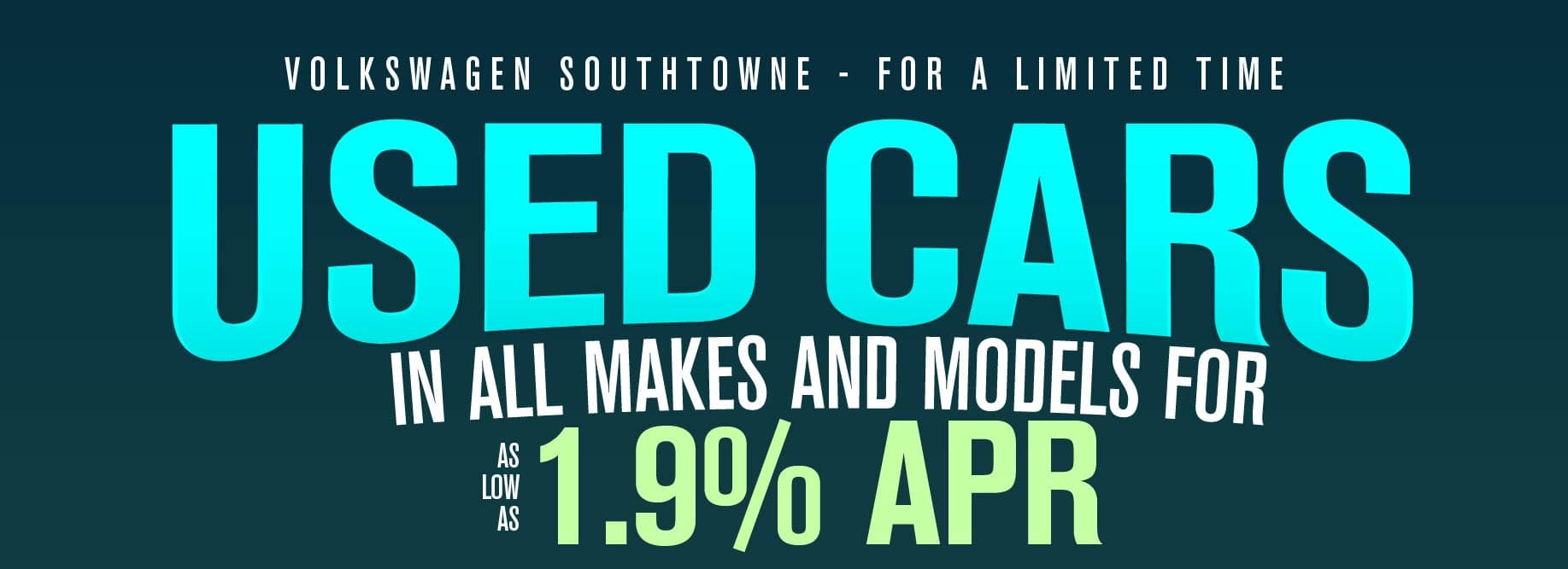 Get as low as 1.9% on used cars at Volkswagen SouthTowne!