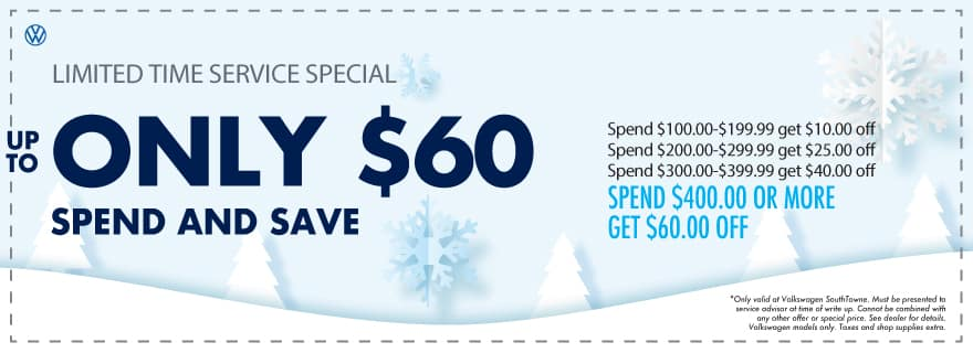 Spend and Save up to $60 at Volkswagen SouthTowne