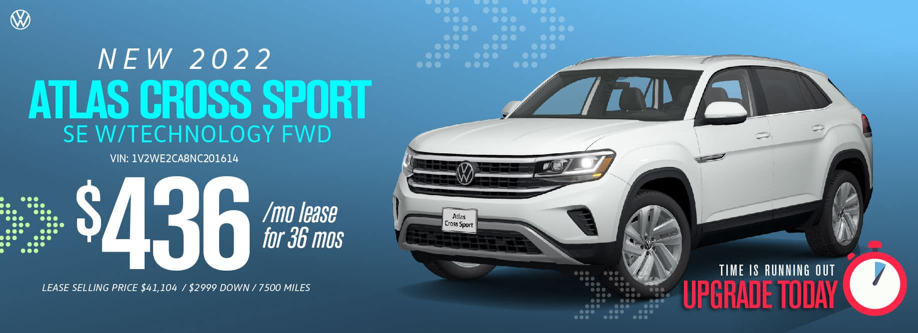 Lease the Atlas Cross Sport starting at $436/mo at VW SouthTowne