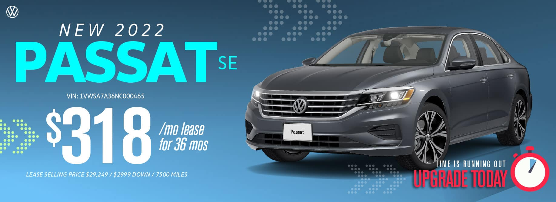 Lease the new 2022 Passat starting at $318 a month at VW SouthTowne!