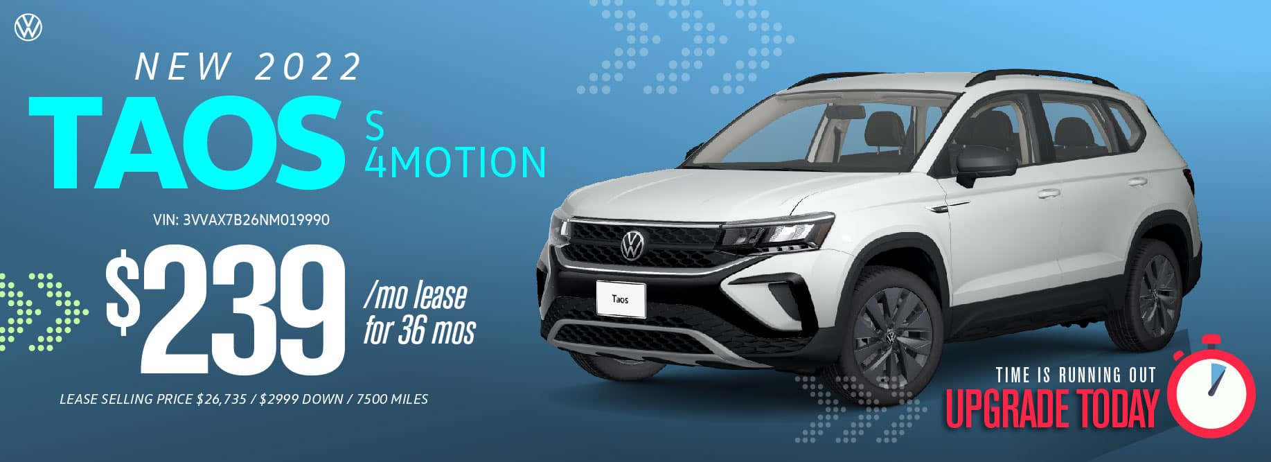 Lease the 2022 Taos starting at $239/mo at VW SouthTowne