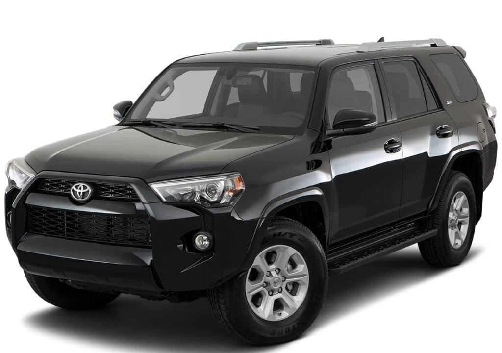 black 4Runner SUV on white background