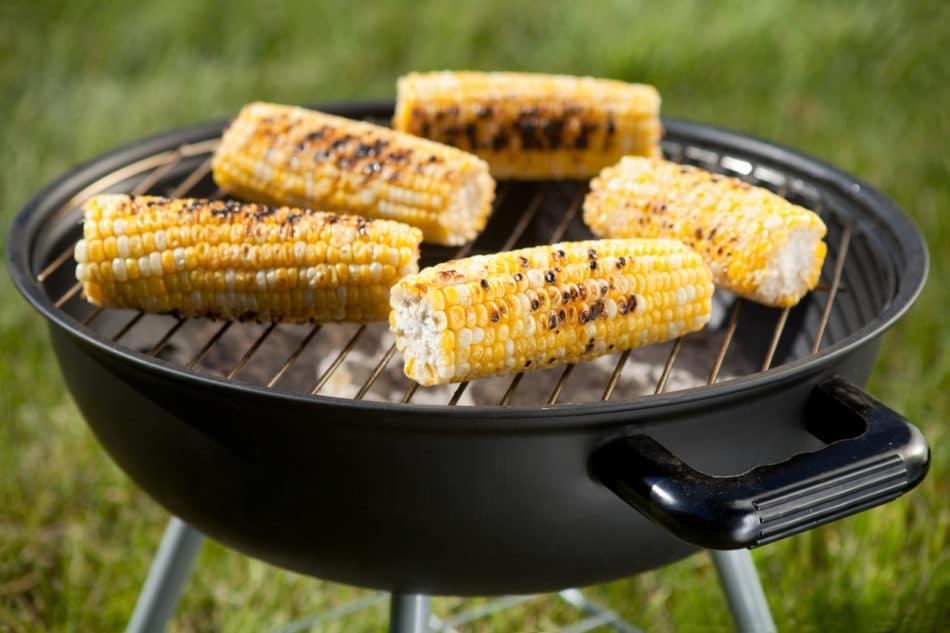 Corn on a barbecue grill