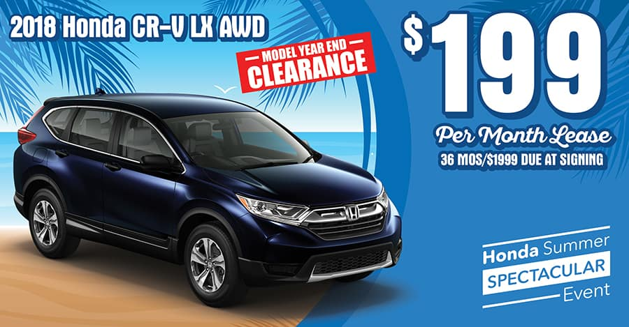 New 2018 Honda CR V LX AWD 36 Month 36K Mile Lease Offers Include All Applicable Incentives 1999 Due At Signing Includes Down Payment First