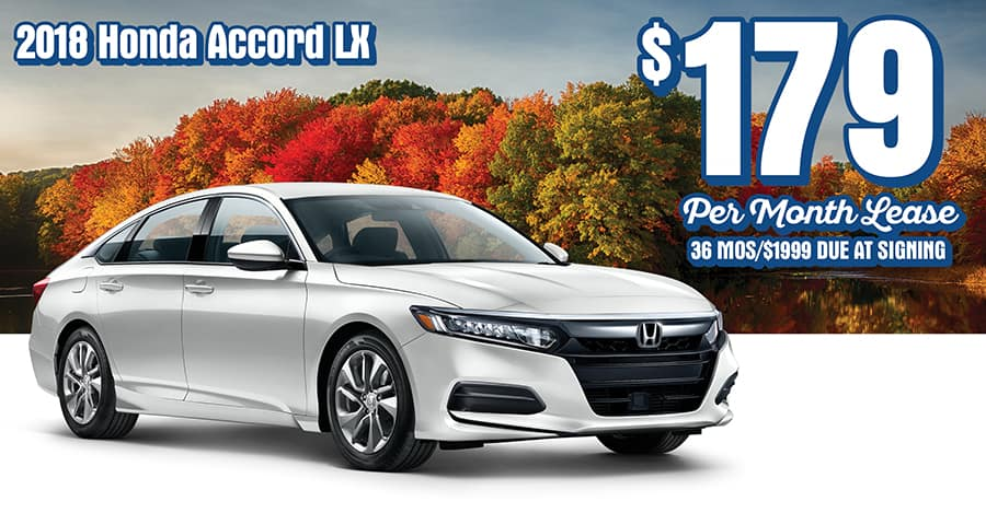 New 2018 Honda Accord LX Sedan, AT. 36 Month/36K Mile Lease. Offers Include  All Applicable Incentives. $1999 Due At Signing Includes Down Payment, ...