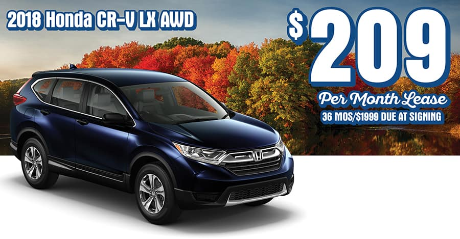 New 2018 Honda CR V LX, AWD. 36 Month/36K Mile Lease. Offers Include All  Applicable Incentives. $1999 Due At Signing Includes Down Payment, First  Payment ...