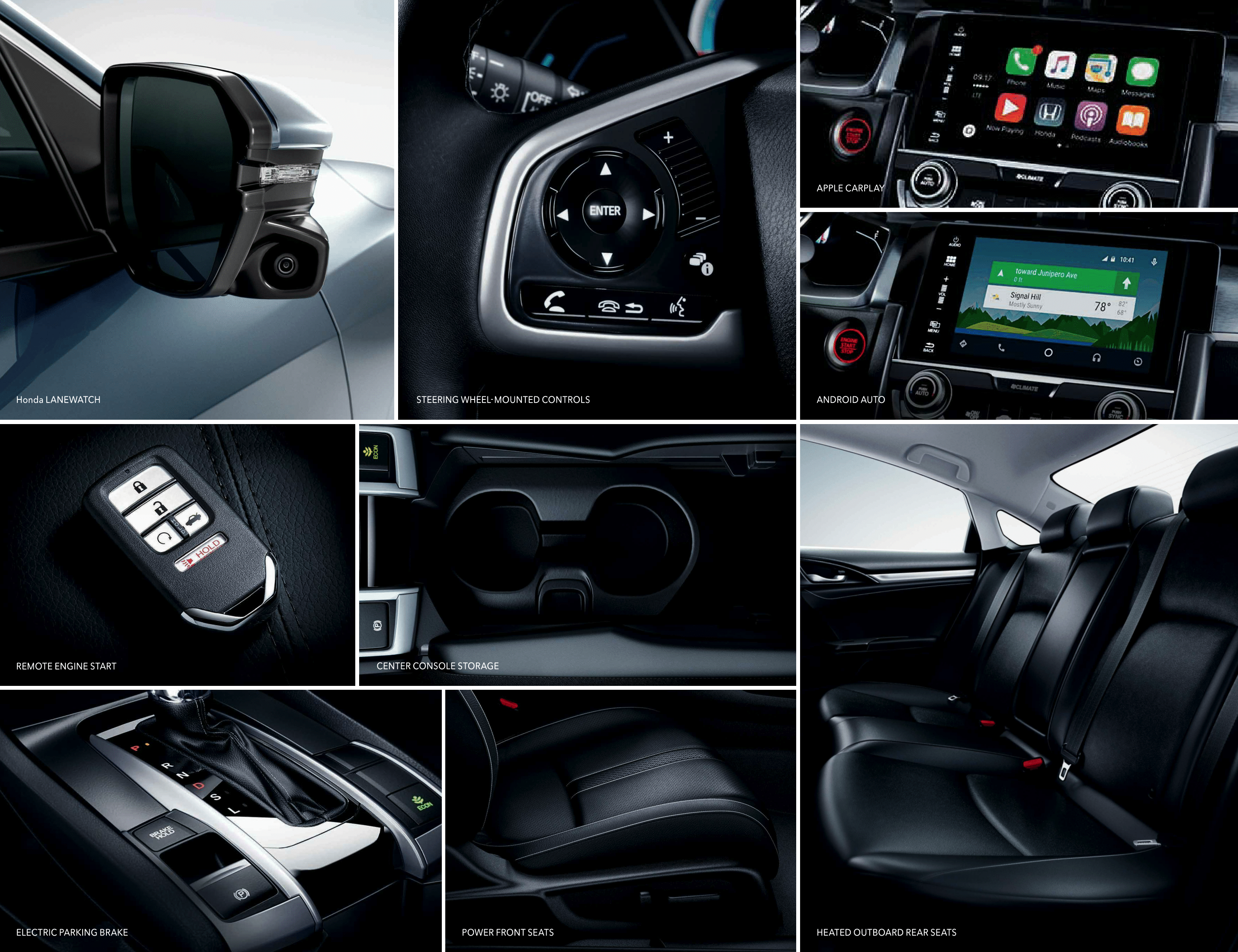 Grid View of many Interior Features of the 2017 Honda Civic