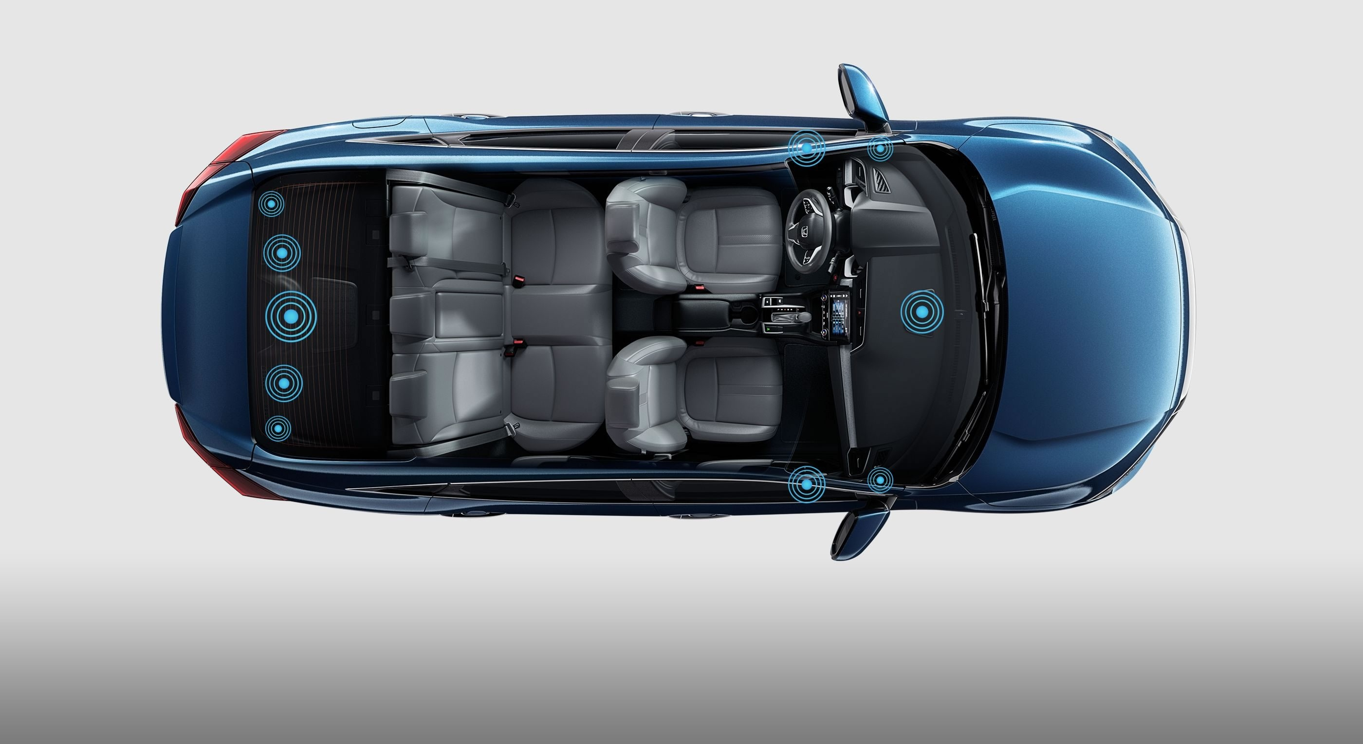 Top View of the 2017 Honda Civic Highlighting the Location of Sensors