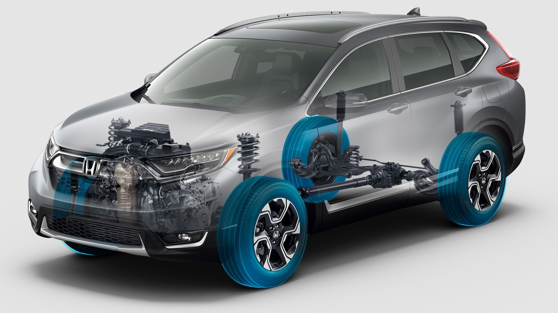 Transparent Side View of the 2017 Honda CR-V Showing the Suspension and the Engine