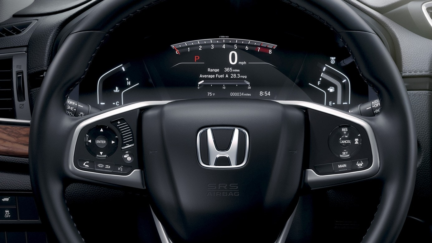 2017 Honda CR-V Dashboard Zoomed in on the Steering Wheel