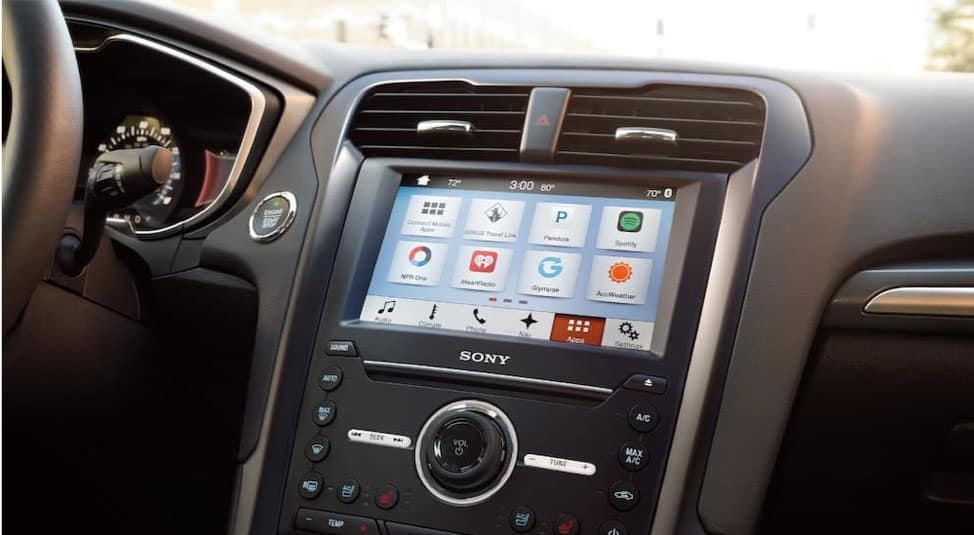 The Ford Sync system is shown on a 2018 Ford Fusion.