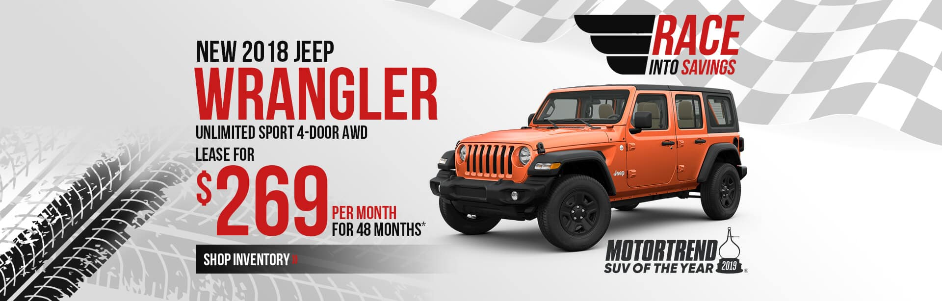 Lease a 2018 Jeep Wrangler for $289/month in Crawfordsville, IN.