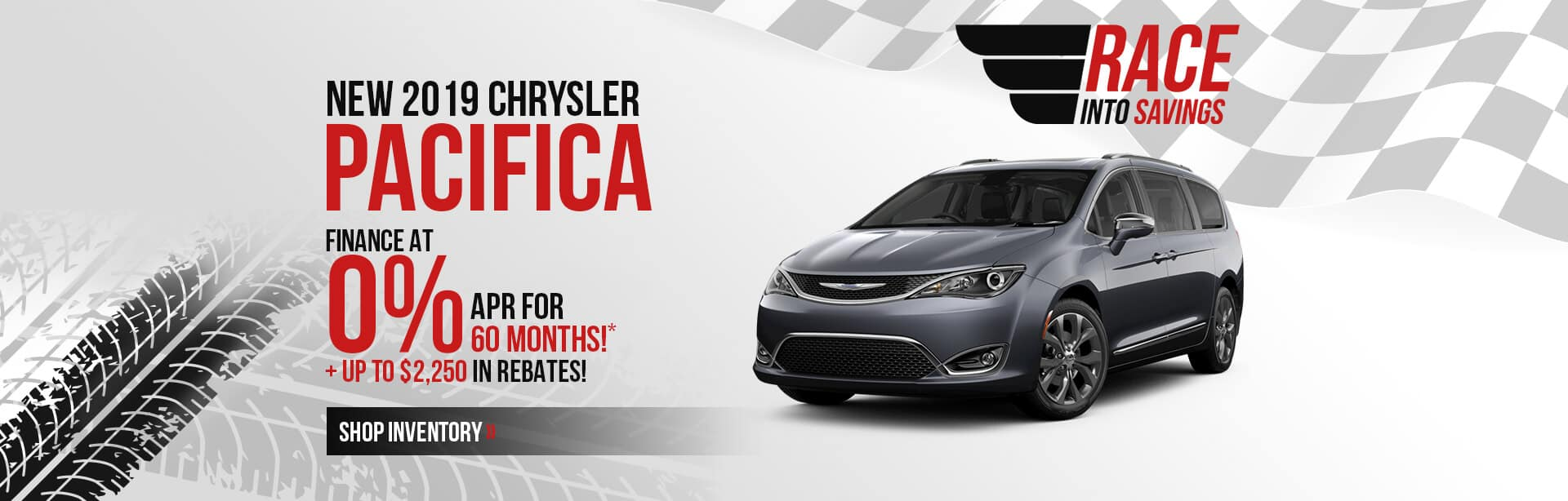 Finance a 2019 Chrysler Pacifica at 0% for 60 months plus rebates near Greencastle, IN.