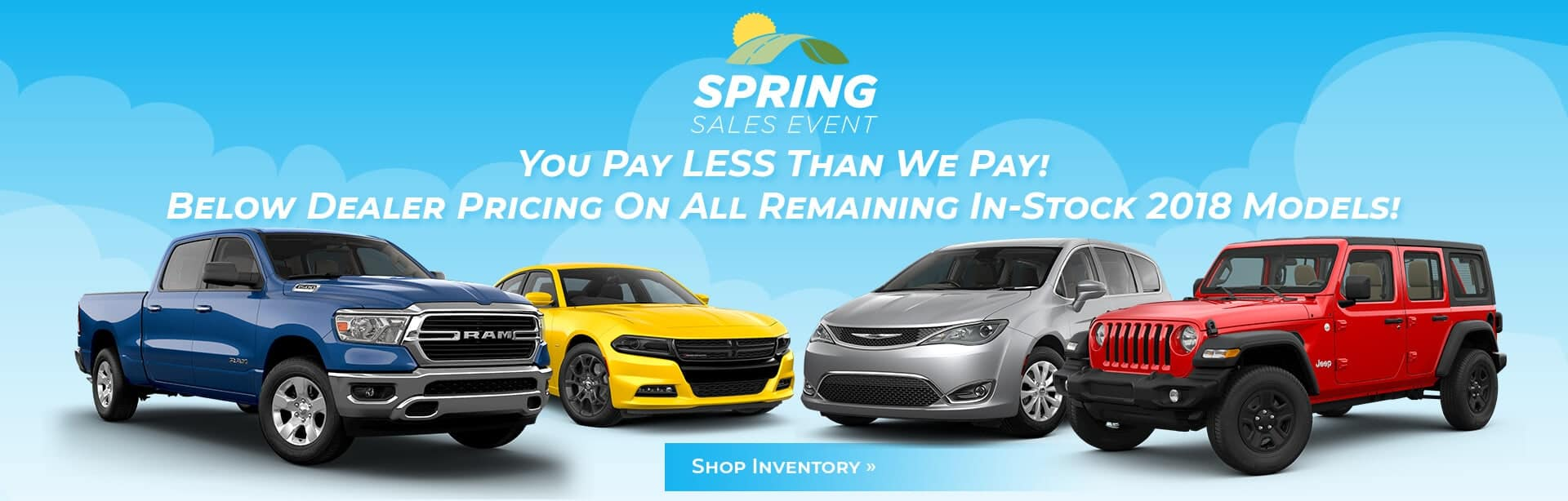 Great Deals on all Remaining 2018 Chrysler Dodge Jeep Ram Inventory.