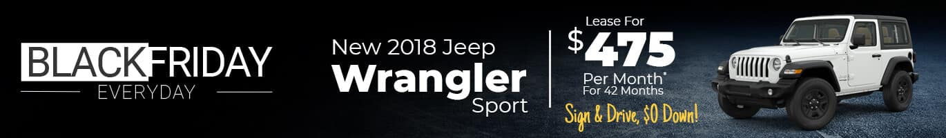 Jeep Wrangler Black Friday Inventory in Crawfordsville, Indiana.