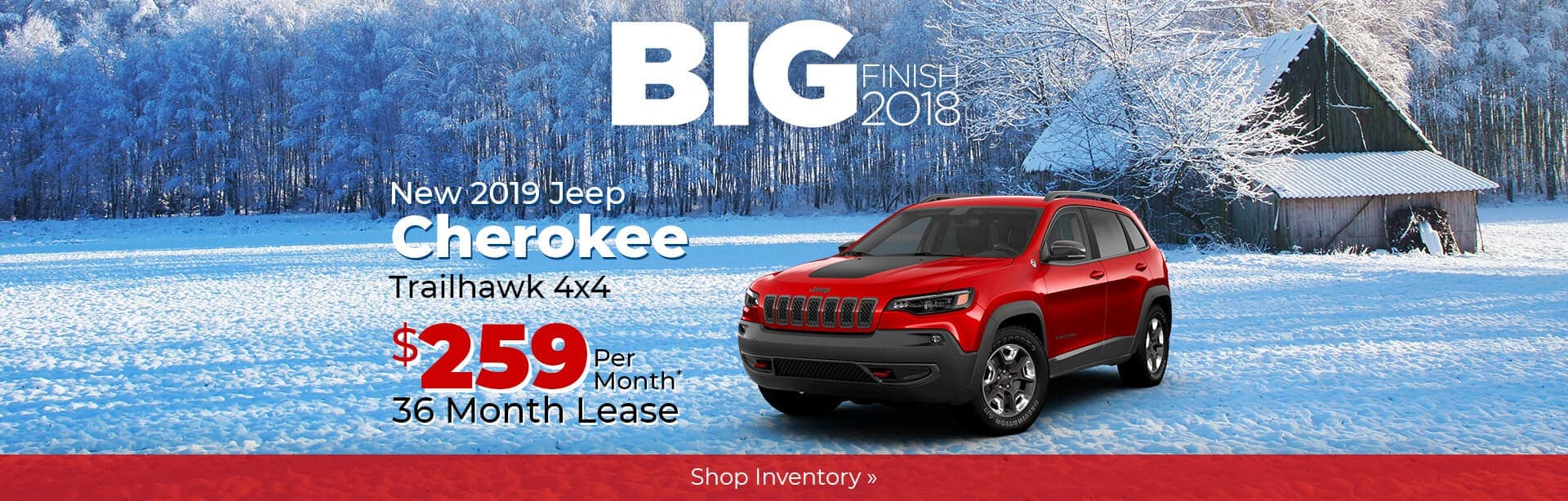2019 Jeep Cherokee Trailhawk Big Finish Holiday Savings near Lafayette, Indiana.