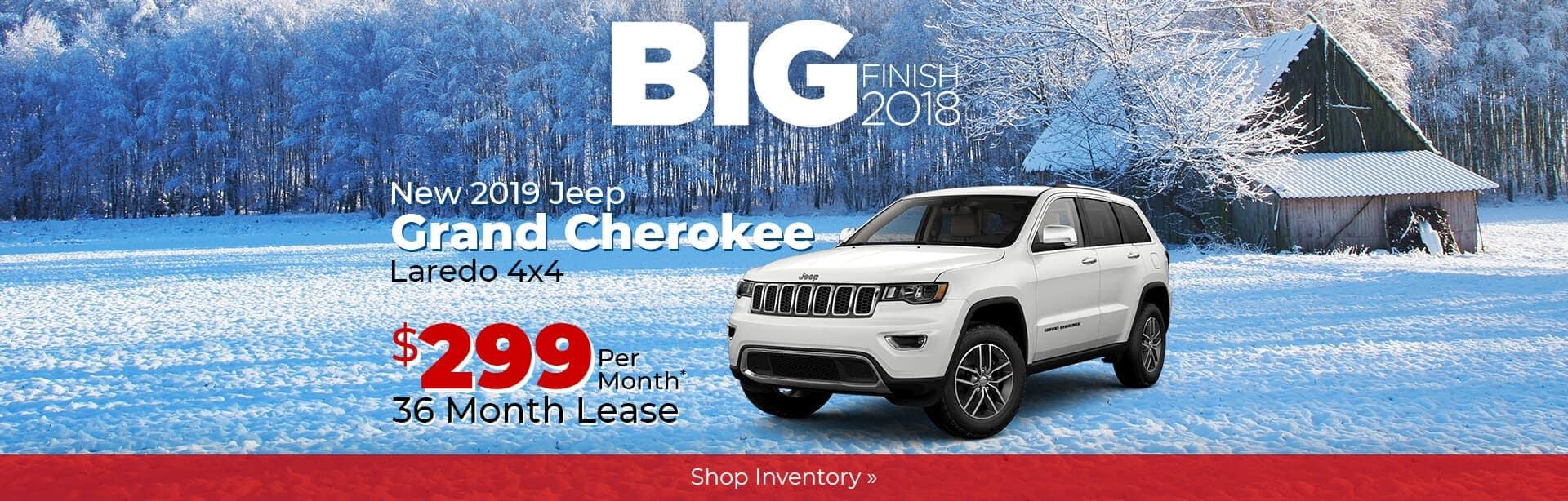 2019 Jeep Grand Cherokee Big Finish Savings Event in Crawfordsville, Indiana.