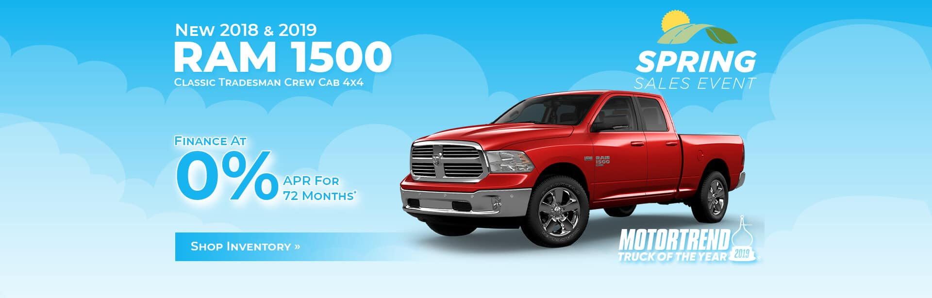 Finance a New RAM 1500 Classic at 0% APR for 72 months.