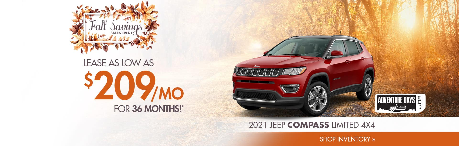 Best Lease deal on a New Jeep Compass near Frankfort, Indiana