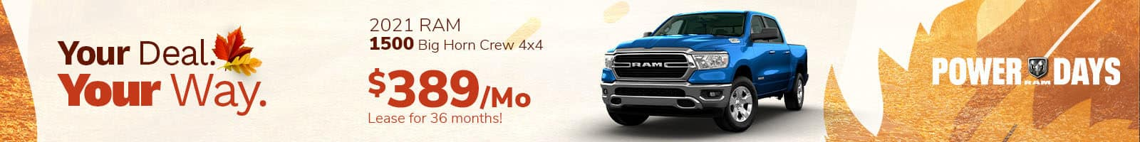 Lease offer on a new 2021 Ram 1500 Big Horn near Indianapolis IN