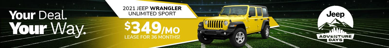 2021 Jeep Wrangler Lease offer near Indianapolis IN